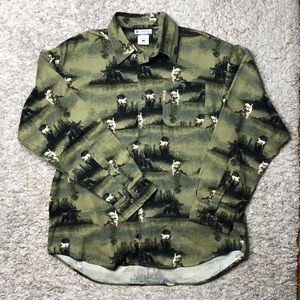 Men's Columbia dog print button up